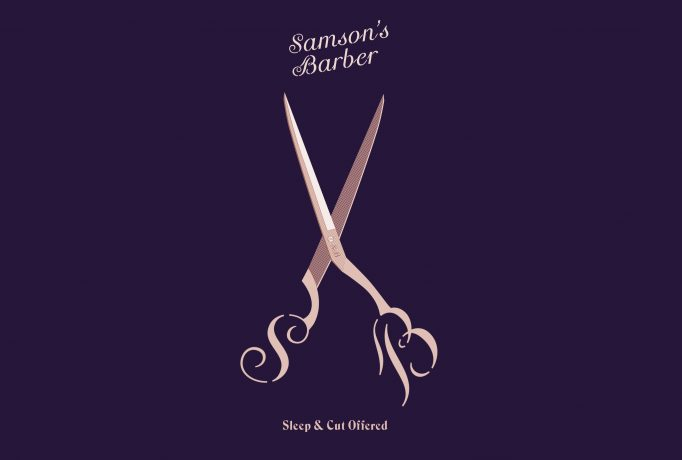 old-rose illustration of 'Samson's Barber' emblazoned pair of scissors on dark violet background