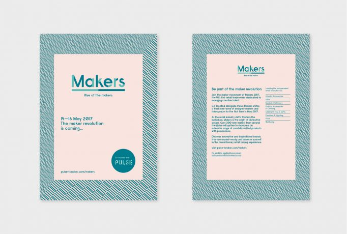 postcards presenting information about the show, in turquoise on a rose background with a turquoise pattern border