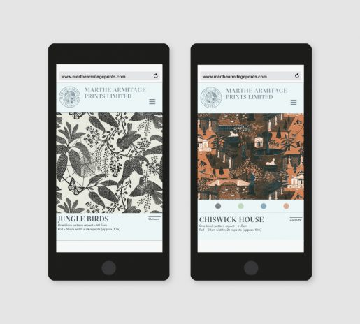 two smartphones shows two different fabric designs, one in black and white, one in orange and brown