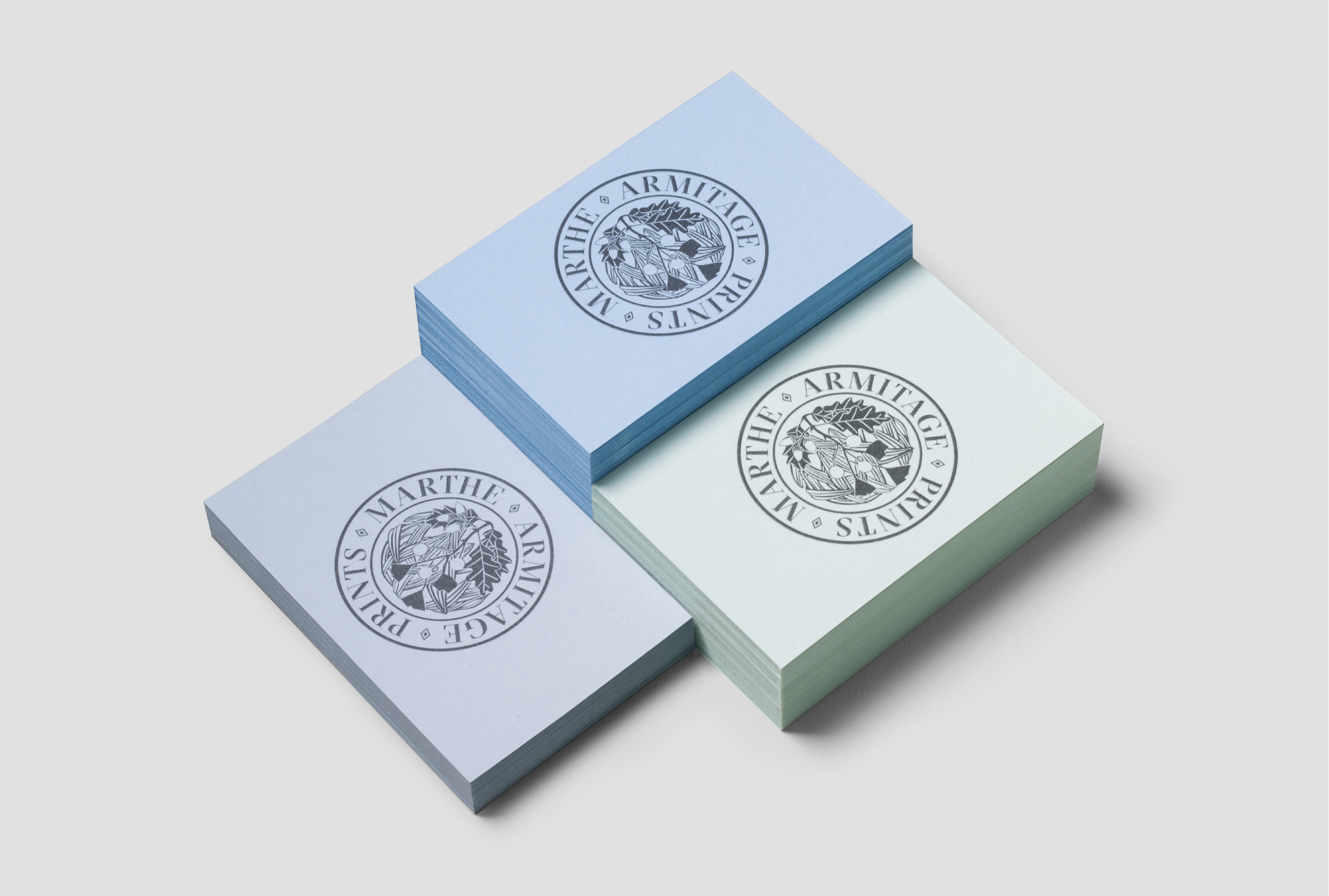 business cards designs, three piles in blue and mint shades