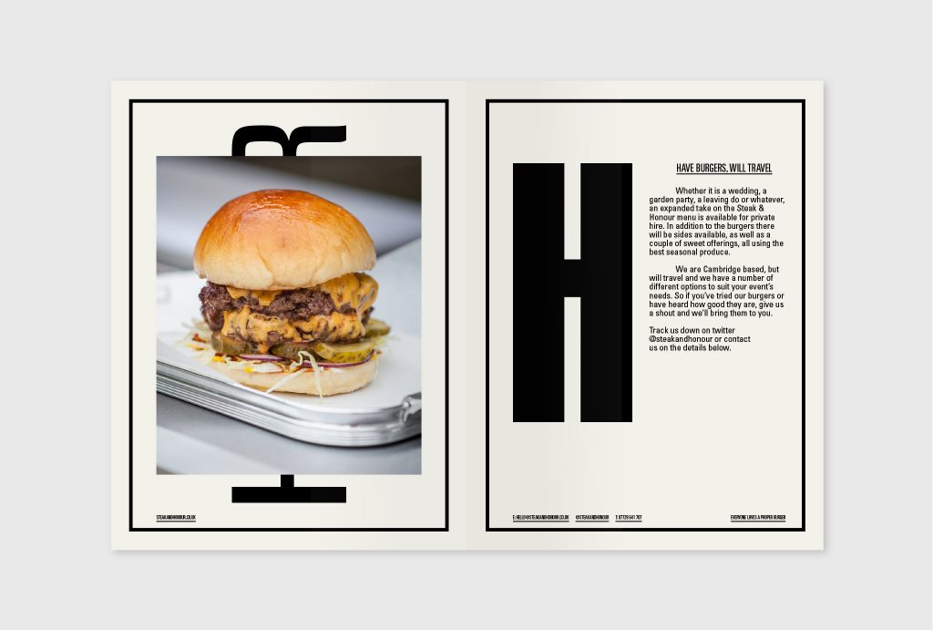 Layout design for sales brochure showing photograph of a burger
