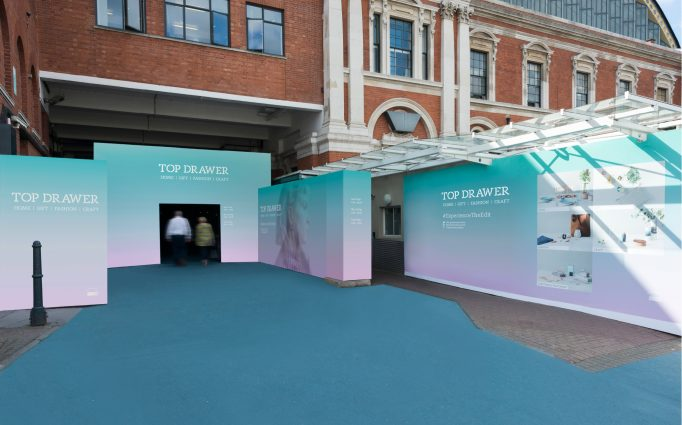 entrance design for the Top Drawer exhibition in turquoise and pink