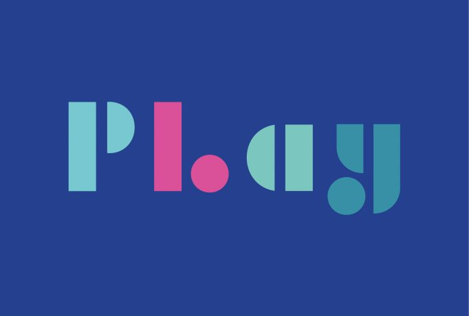 'Play' logo written with geometric shapes in different colours on a dark blue background