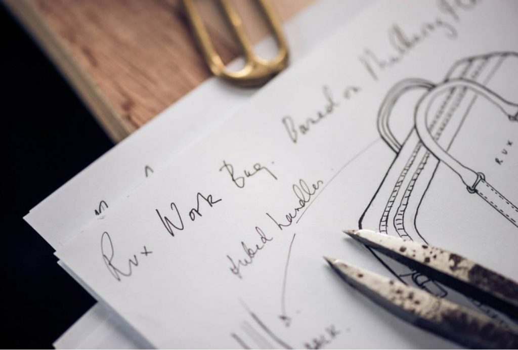 hand written notes in pen and bag drawing on white paper