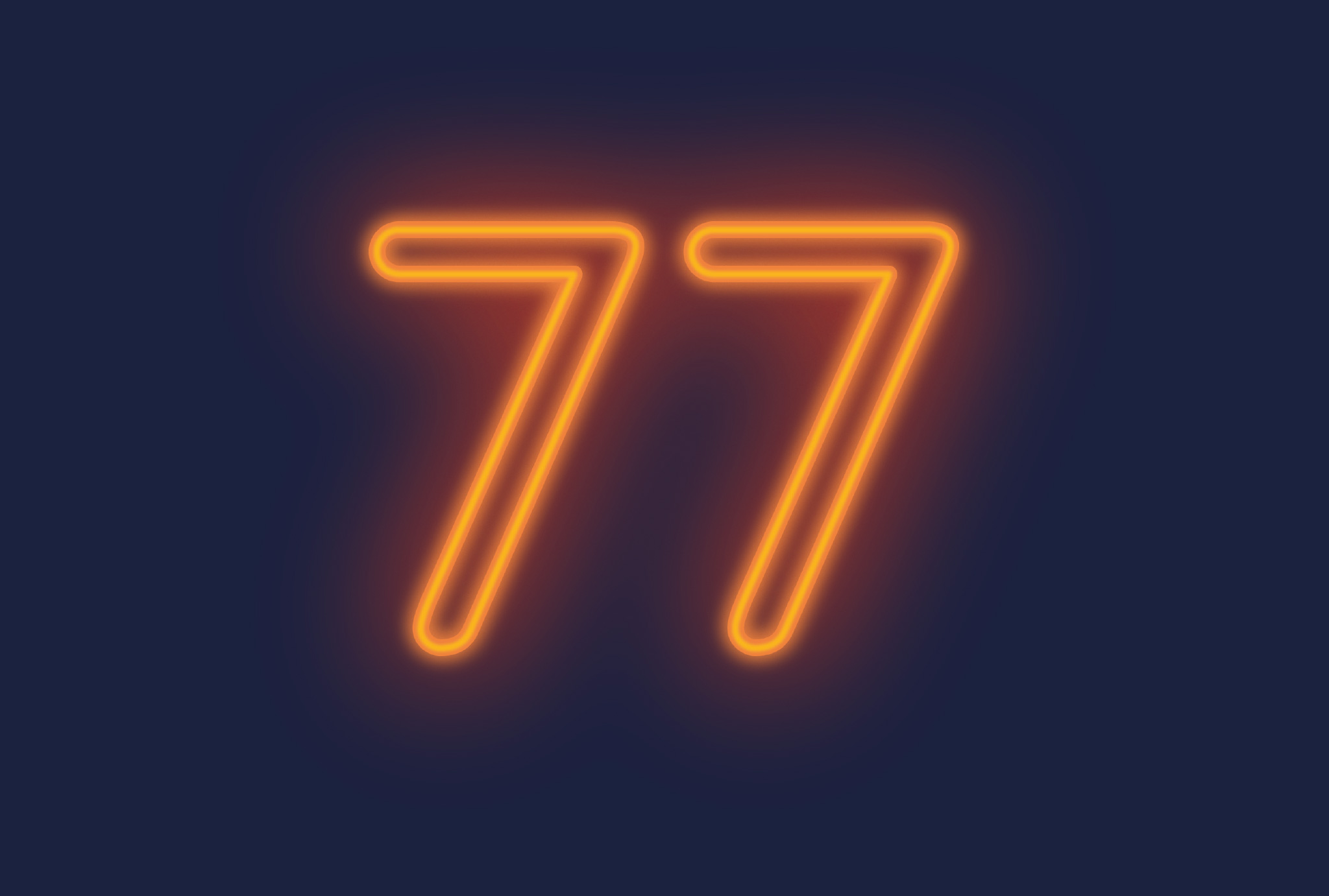 orange neon lights forming the number 77 on a dark blue background