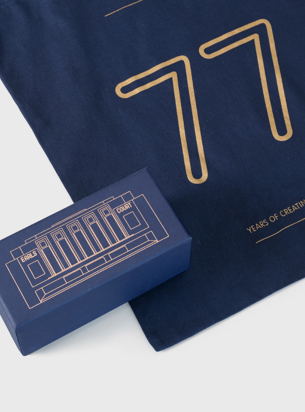 close up on the packaging and bag design for the Earls Court