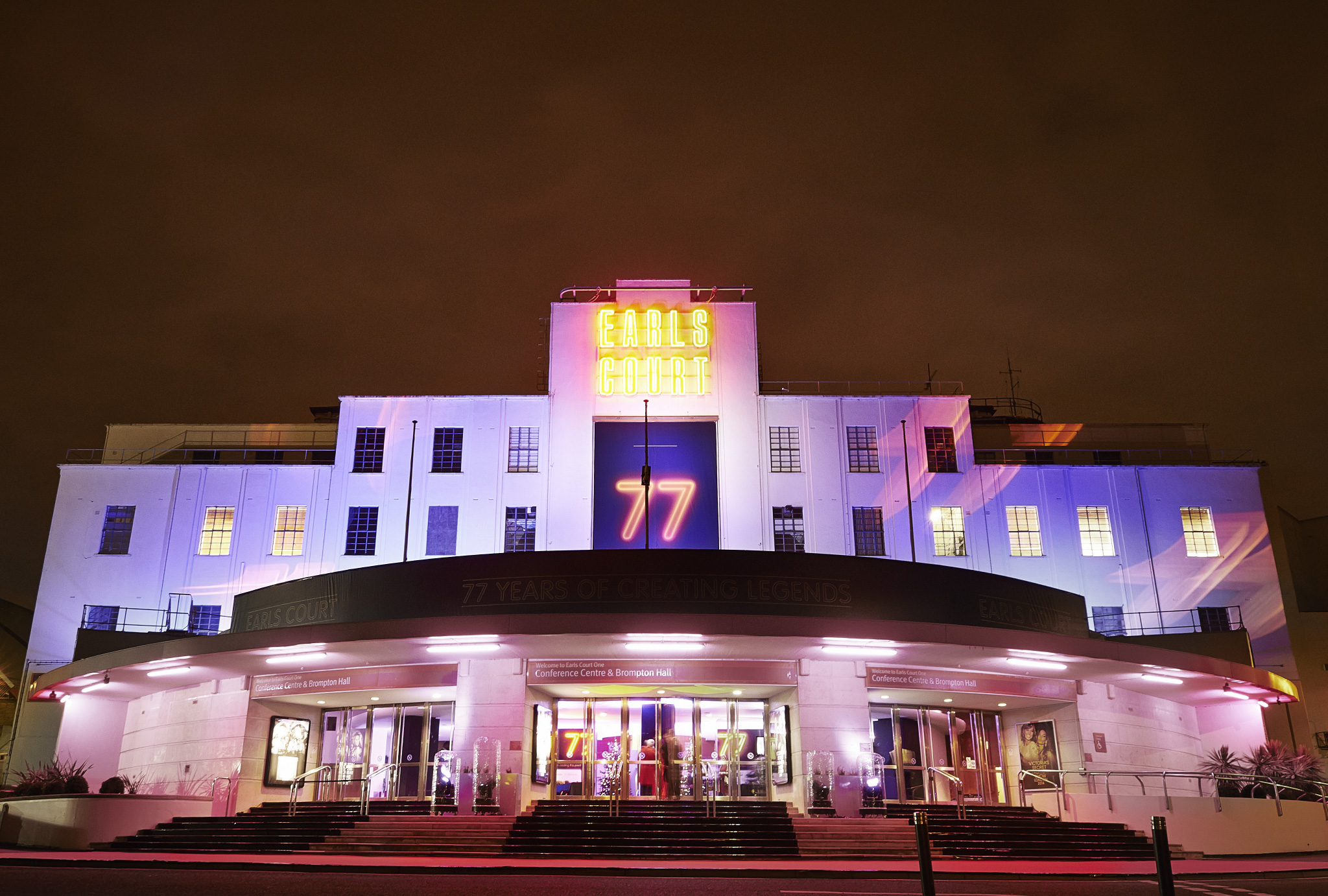 night photograph of the Earls Court entrance