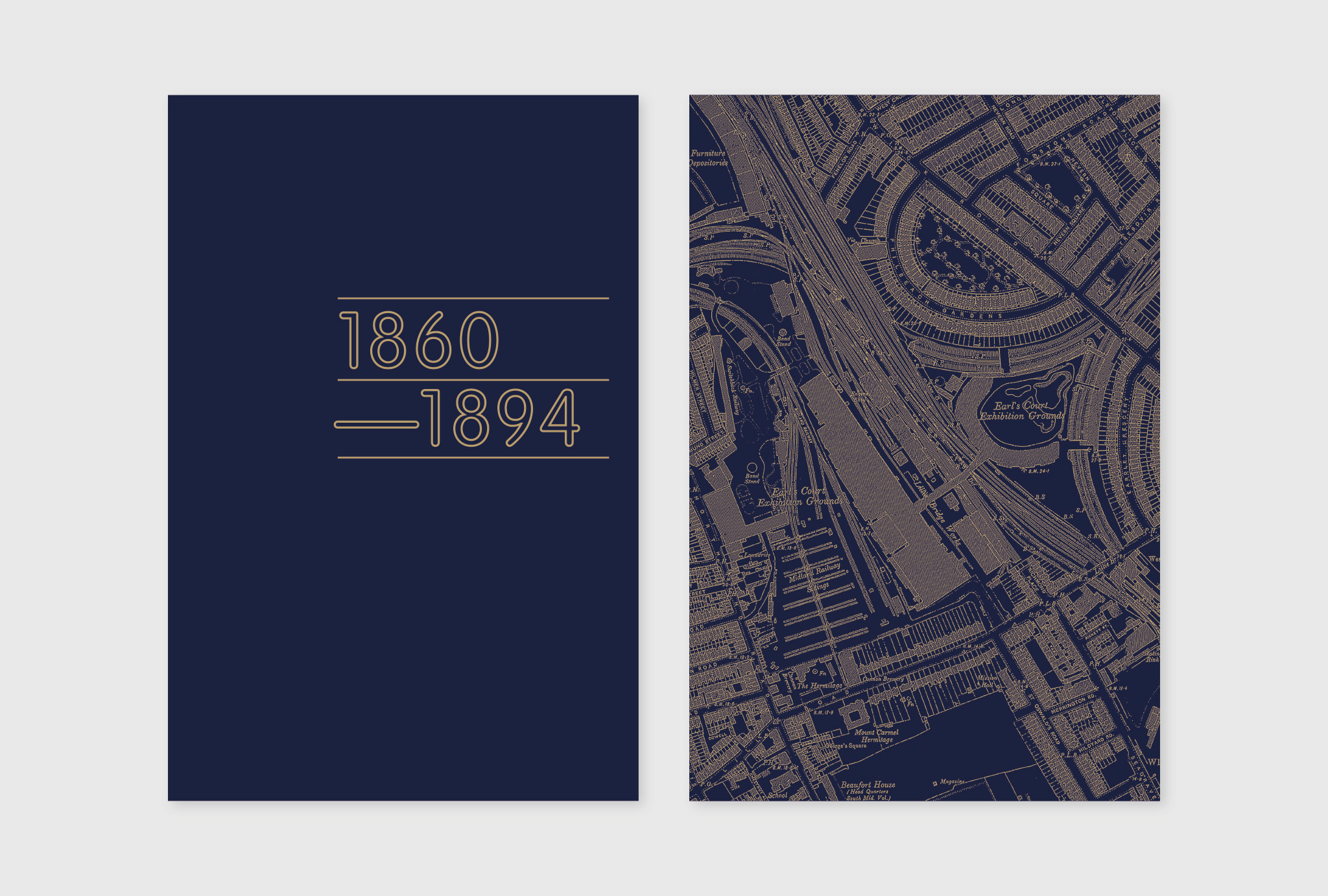 '1860-1894' written in grey on a dark blue exhibition panels, next to a exhibition panels with area map of Earls Court