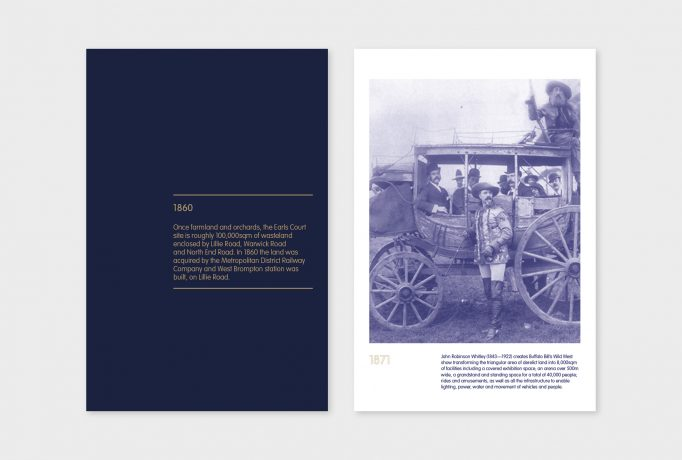 '1860' and a text block underneath written in grey on a dark blue exhibition panels, next to a blue coloured old photograph