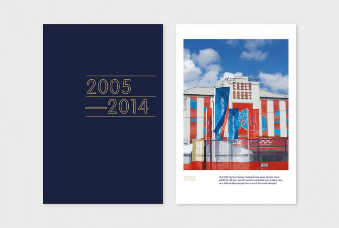 '2005-2014' written in grey on a dark blue exhibition panels, next to colourful picture of the Earls Court in 2012