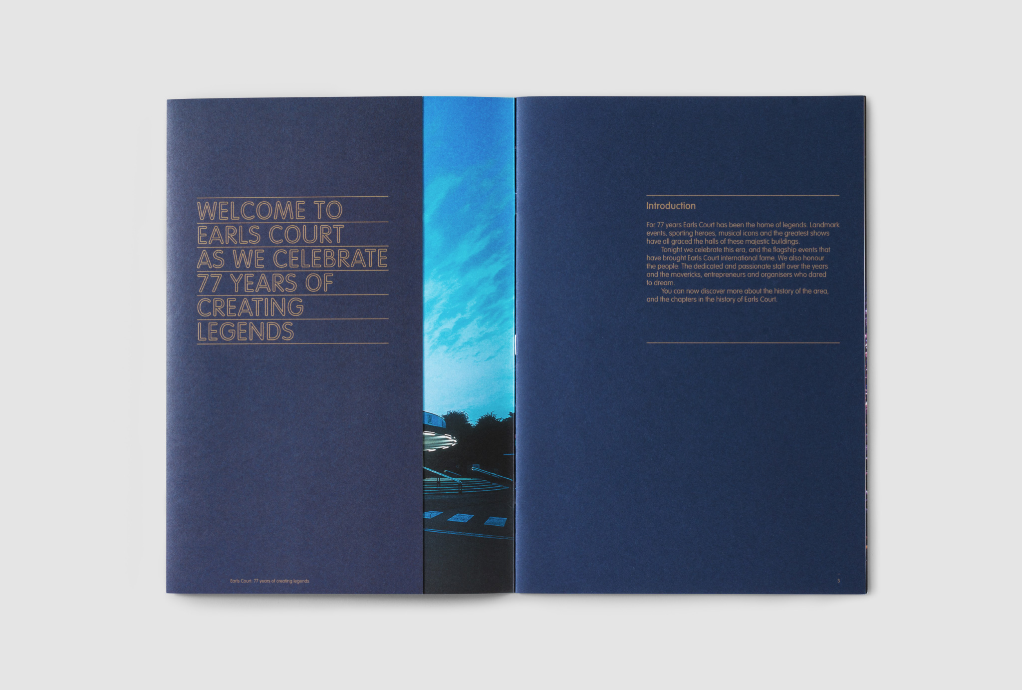 dark blue catalogue page design with orange texts and a photograph