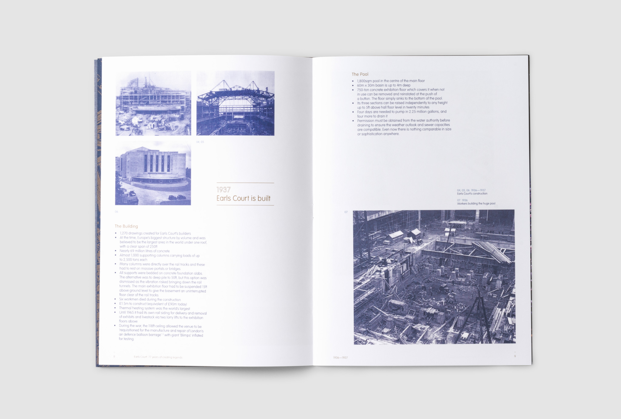 open catalogue, white pages and blue coloured photographs