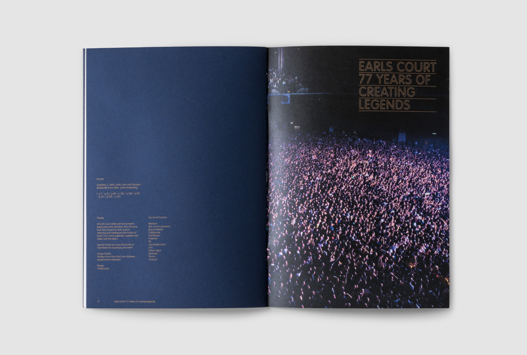 catalogue design in dark blue and a photograph of the crowd on the other page