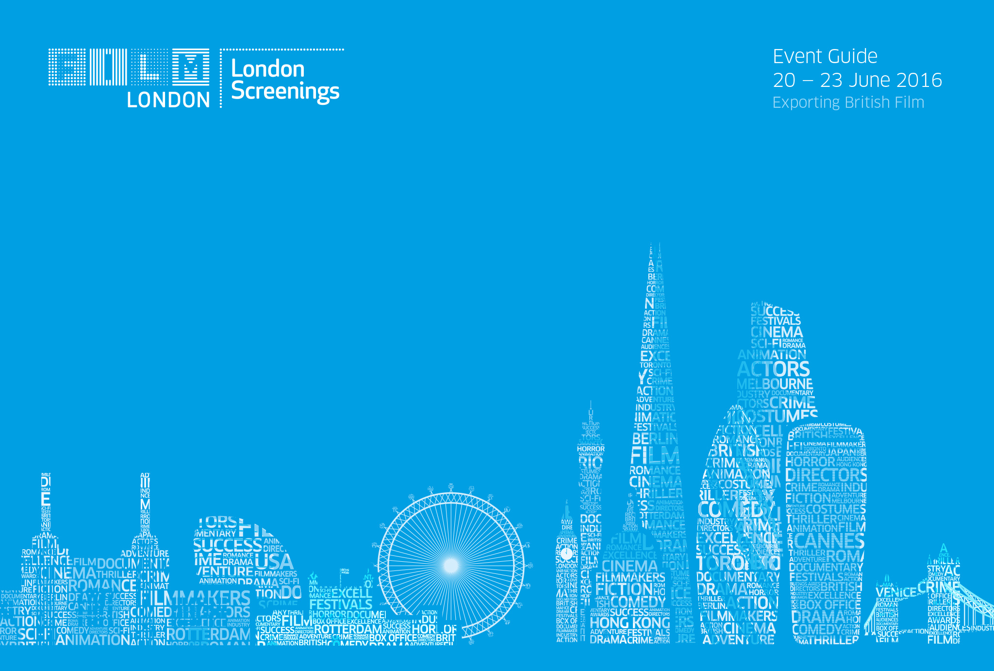 blue illustration with the skyline of London made out of words relating to film