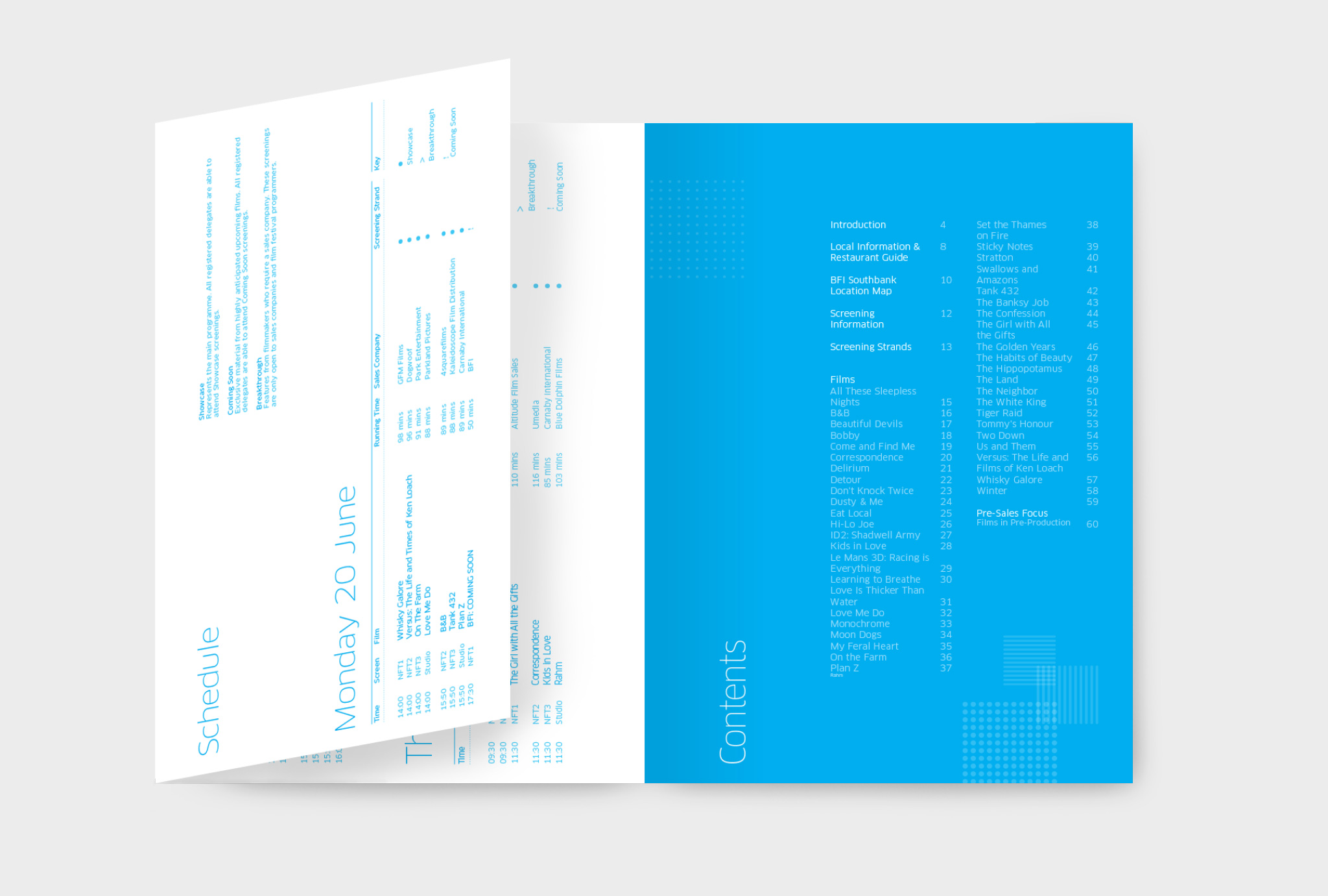 contents page and schedule of catalogue in blue and white