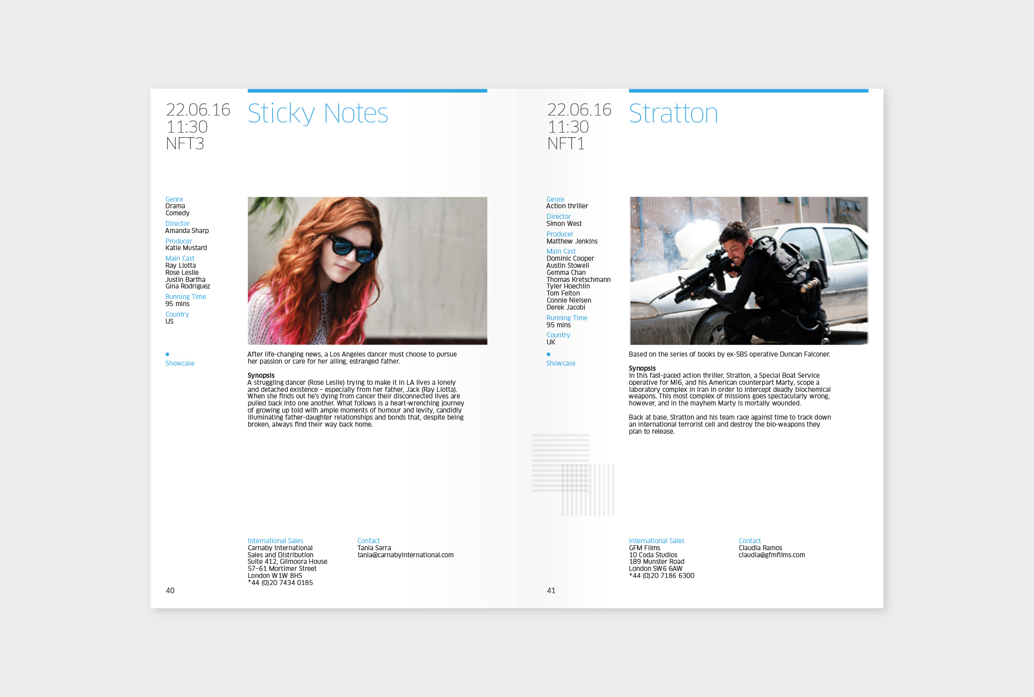 film information page design, each side with a film still, synopsis and film credits