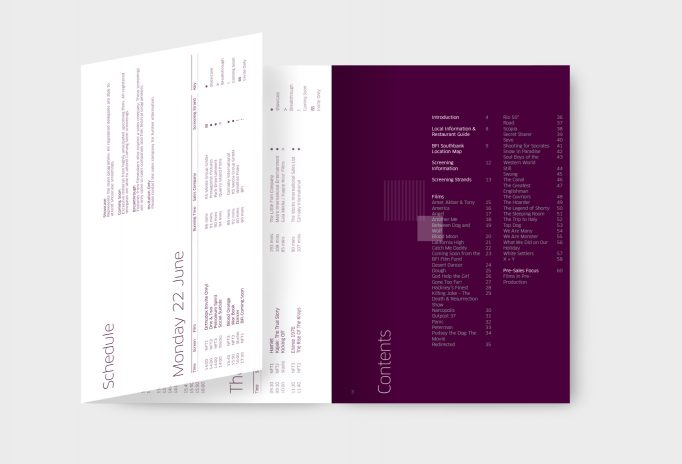 contents page and schedule of catalogue in burgundy and white