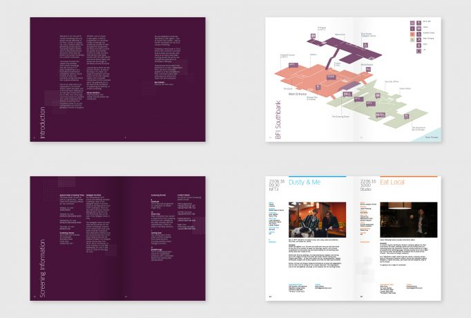 various spreads from event catalogue