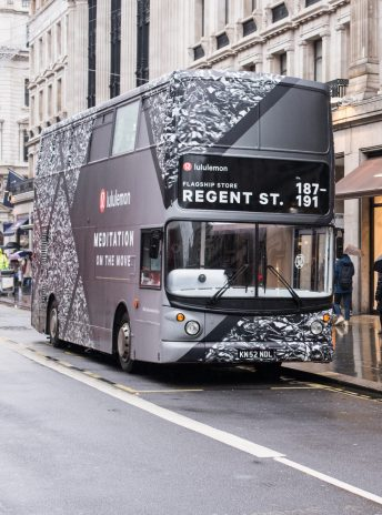 front view at the design of the Lululemon Om The Move bus