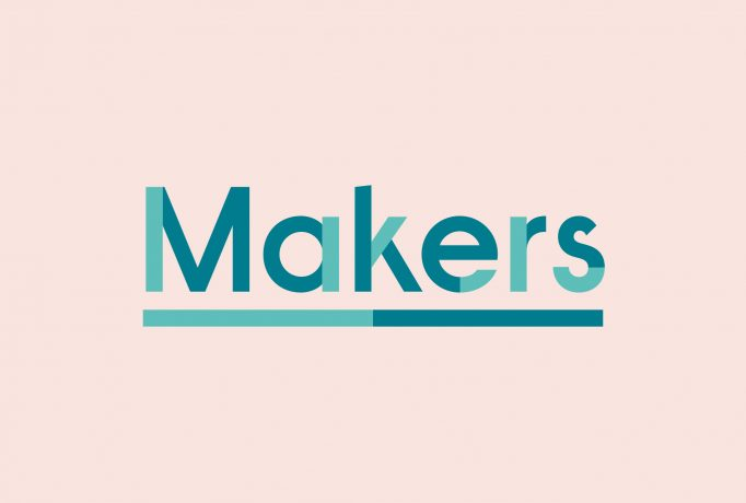 'Makers' logo written in light and dark turquoise on a rose background