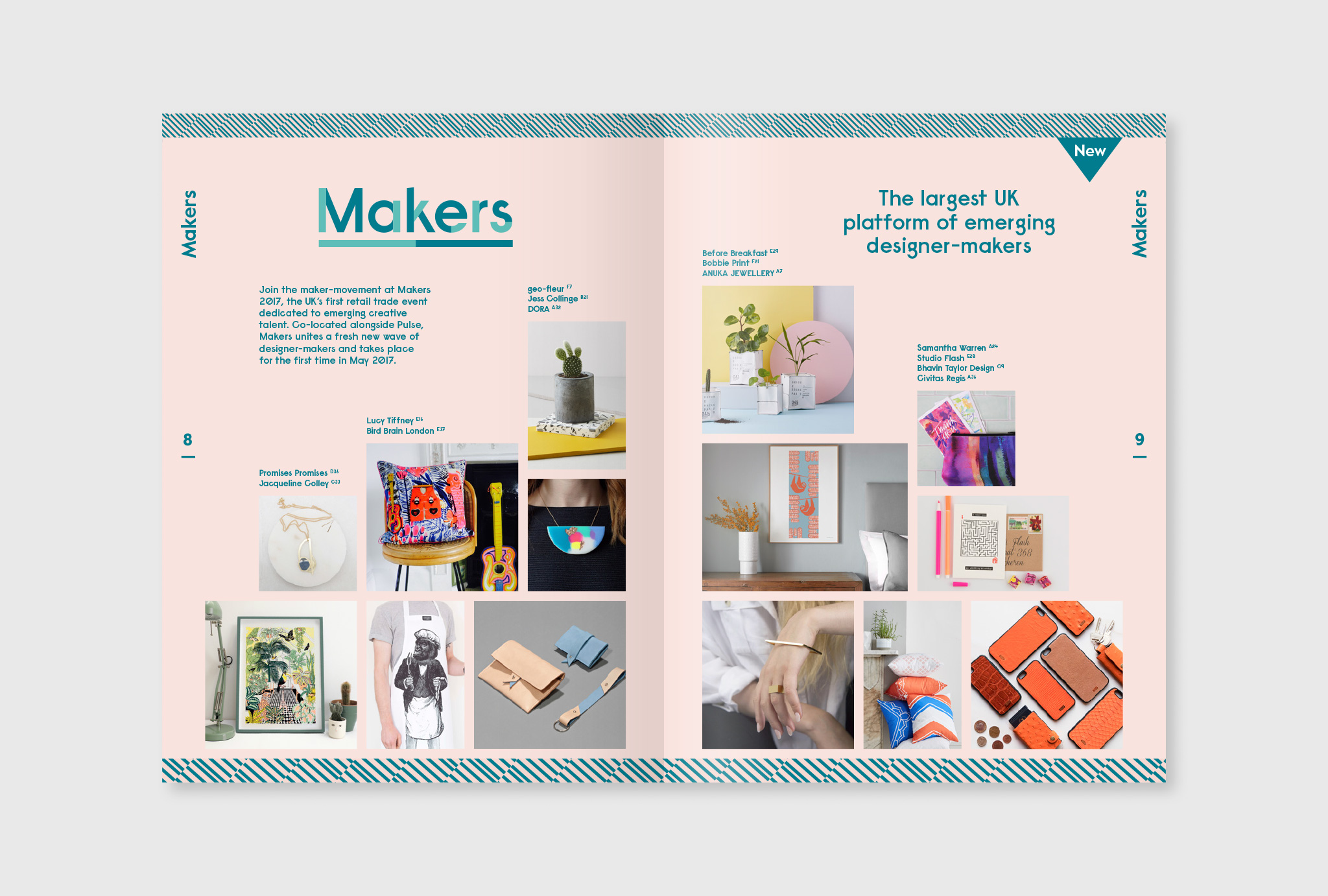 brochure layout, 'Makers' logo as headline with some text and images underneath on a rose background