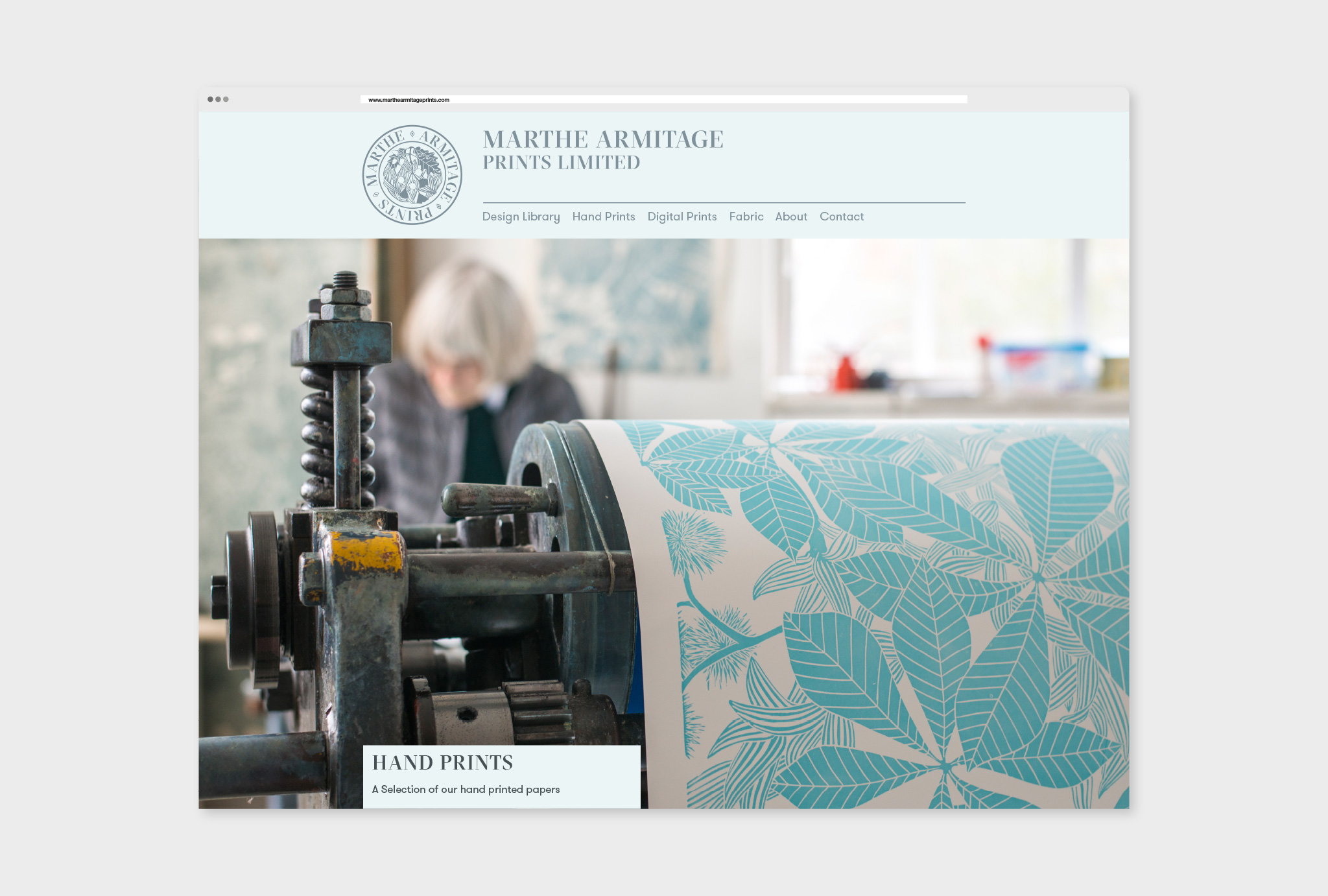 homepage website design for Marthe Armitage Prints