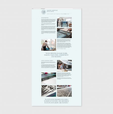 design of the website about hand printing, mint background with pictures and texts in black
