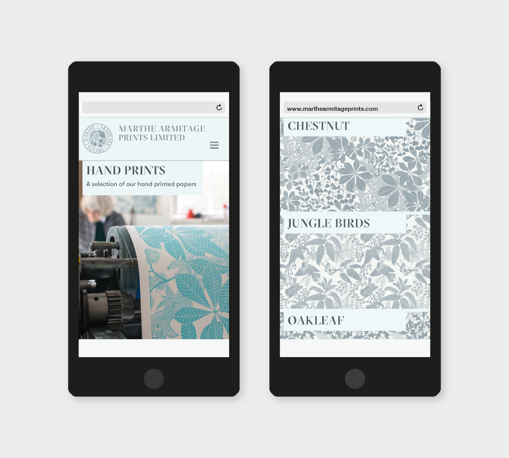 two smartphones with the website design of the homepage and the fabric designs