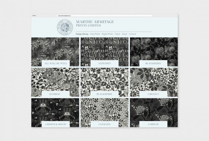 website design for library, nine different fabric designs in black