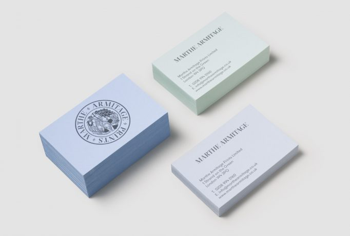 three piles of business cards with 'MARTHE ARMITAGE PRINTS' logo and company contact details