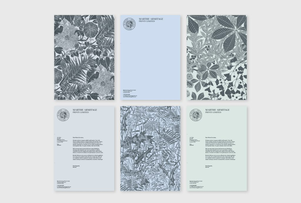 stationary design in different blue and mint shades and hand drawings
