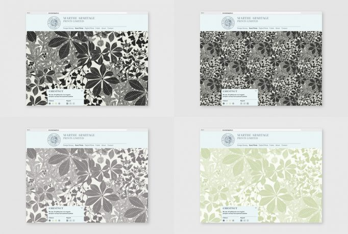 four website designs for the hand drawed designs of Marthe Armitage
