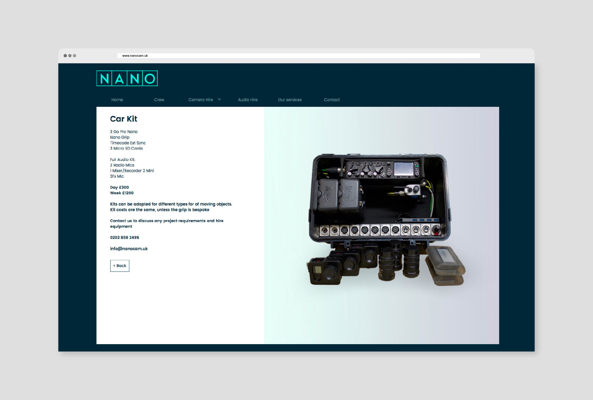 website design for car kit product