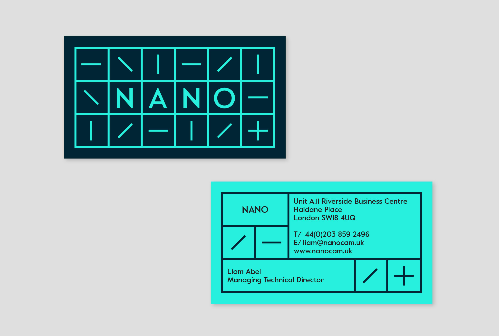 business cards design in bright turquoise and black with 'NANO' logo and company contact details