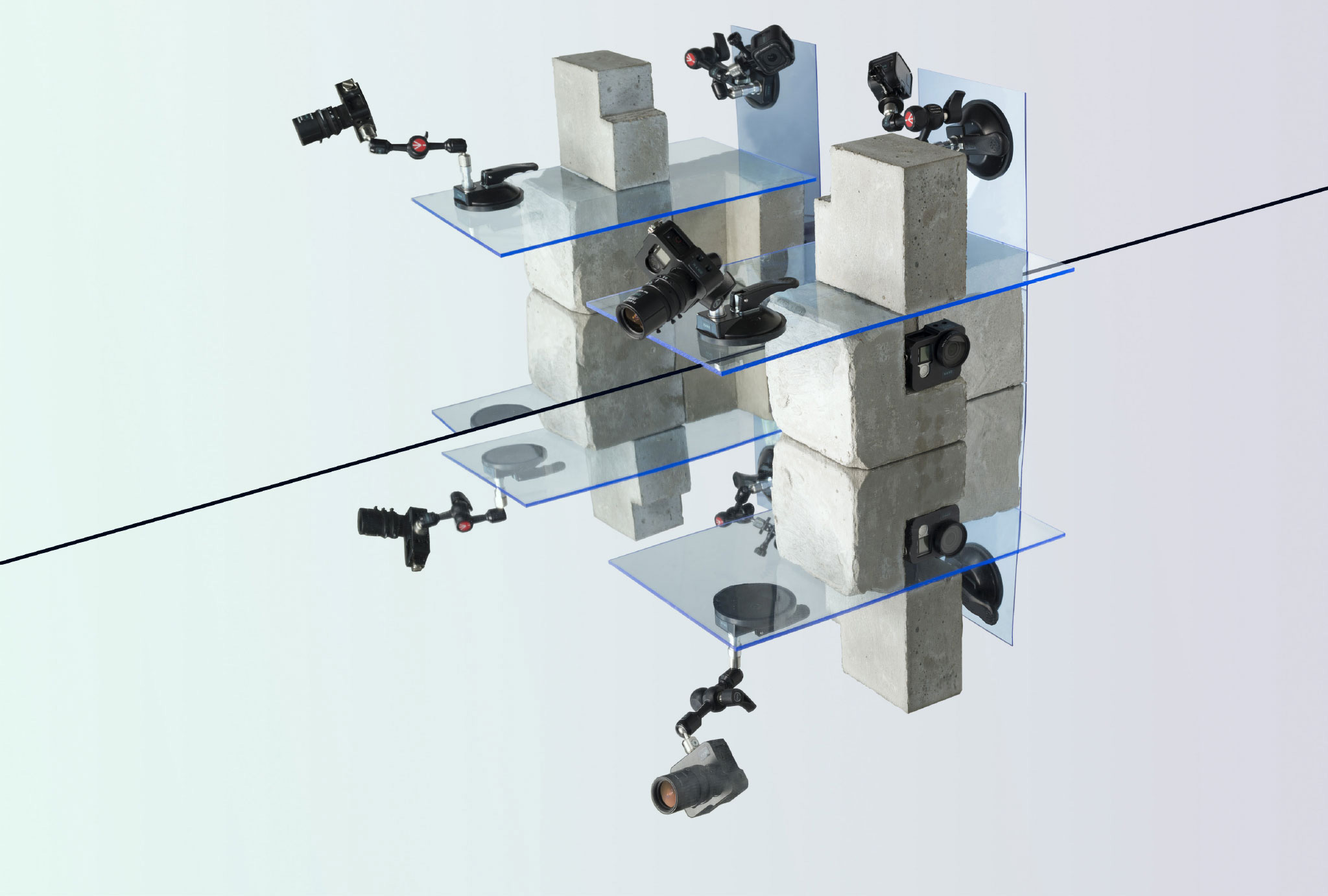 art-direction for NANO featuring mini cameras fixed to plastic sheets using suction mounts