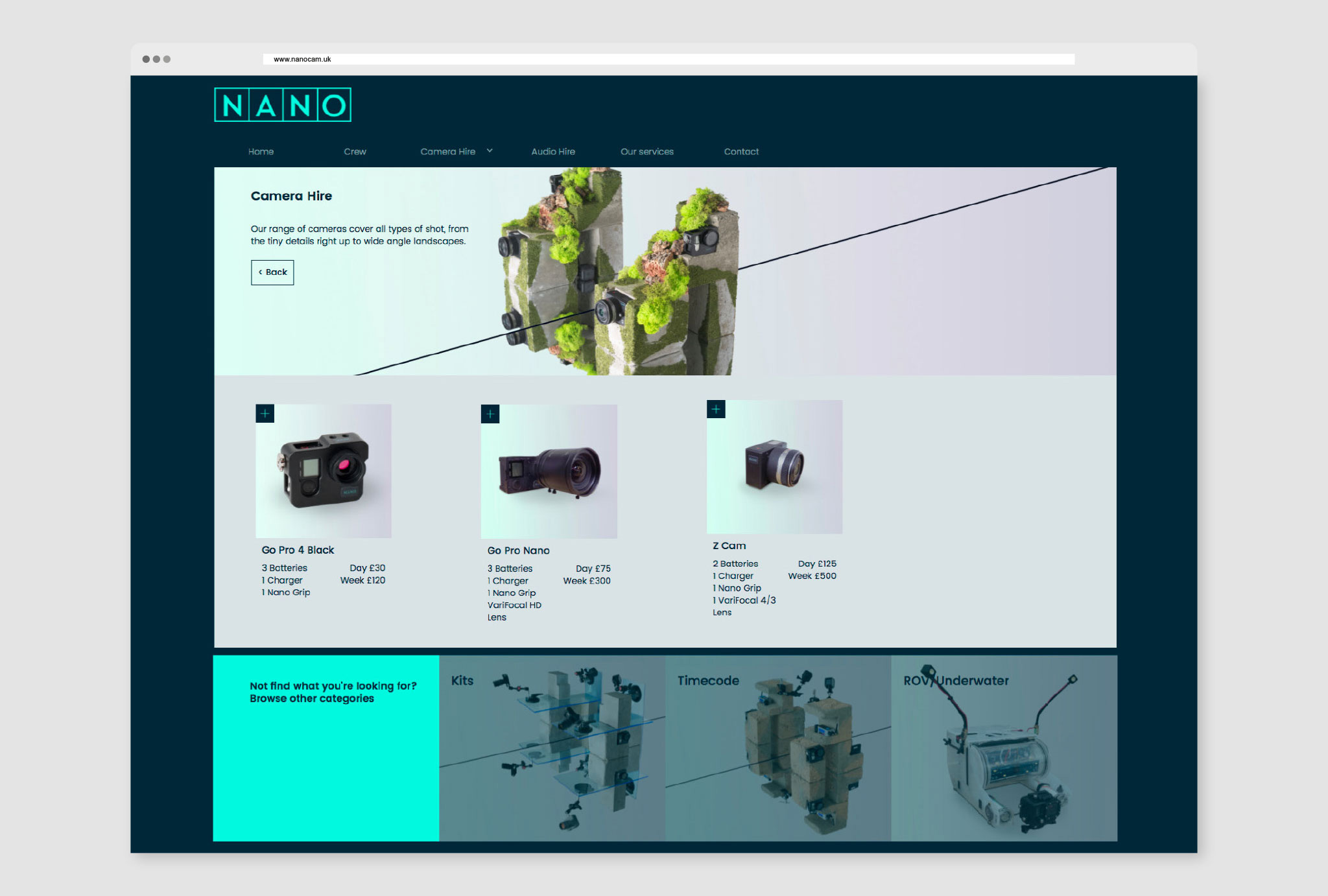 website design for product page for mini cameras