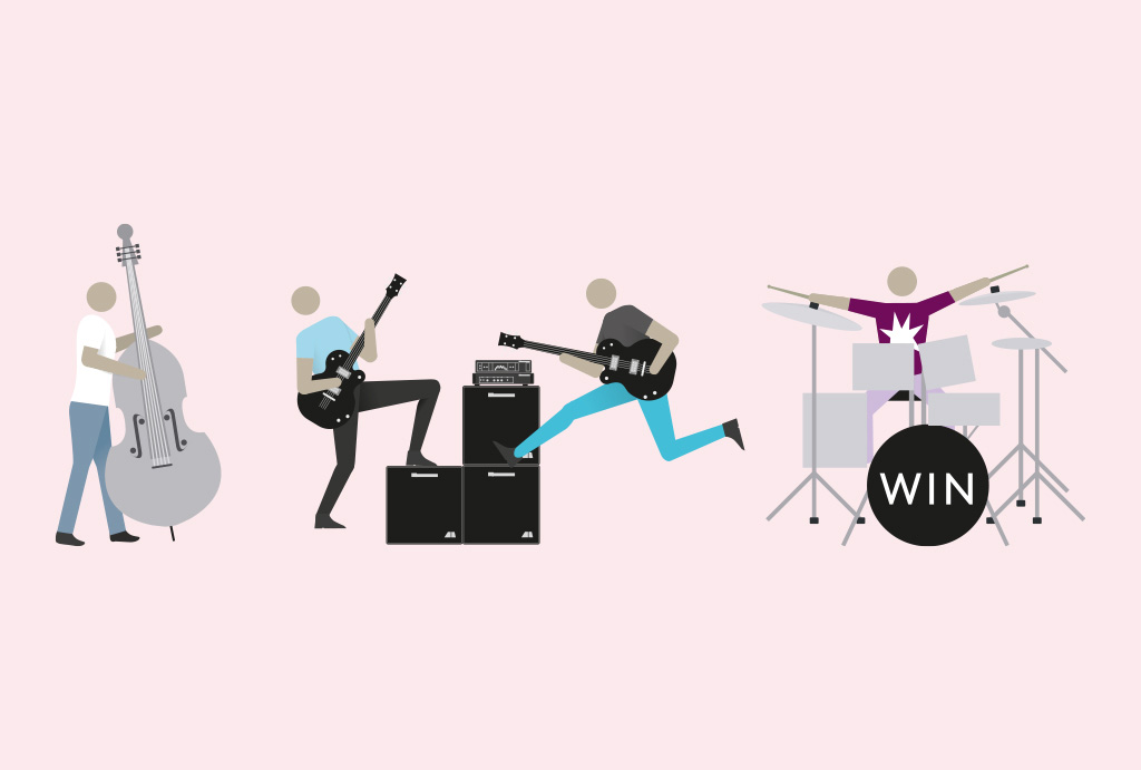 illustration of people playing the guitar, drums and bass on a rose background
