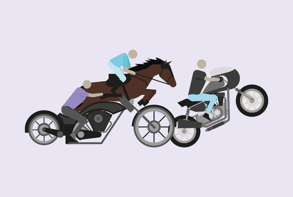 illustration of people riding a bike and horse on a lilac background