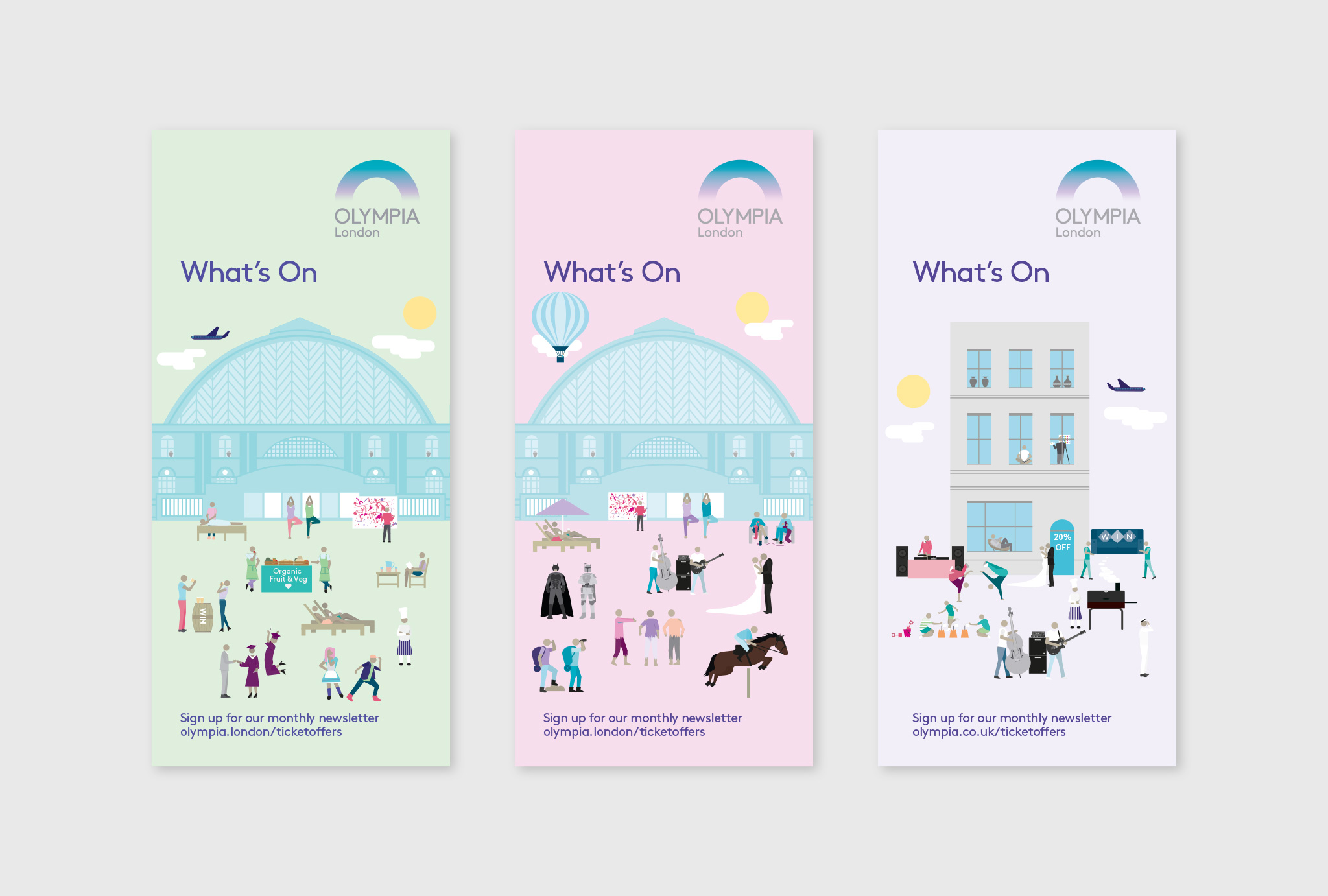 design for the little brochures for the Olympia London events