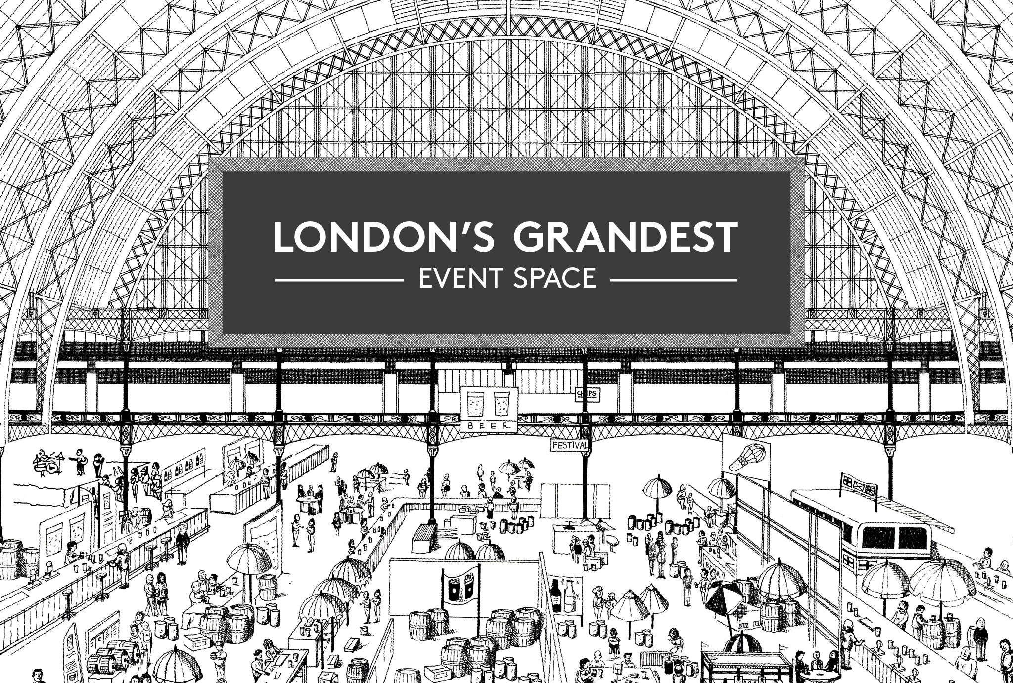 black and white, hand draw illustration of Olympia London