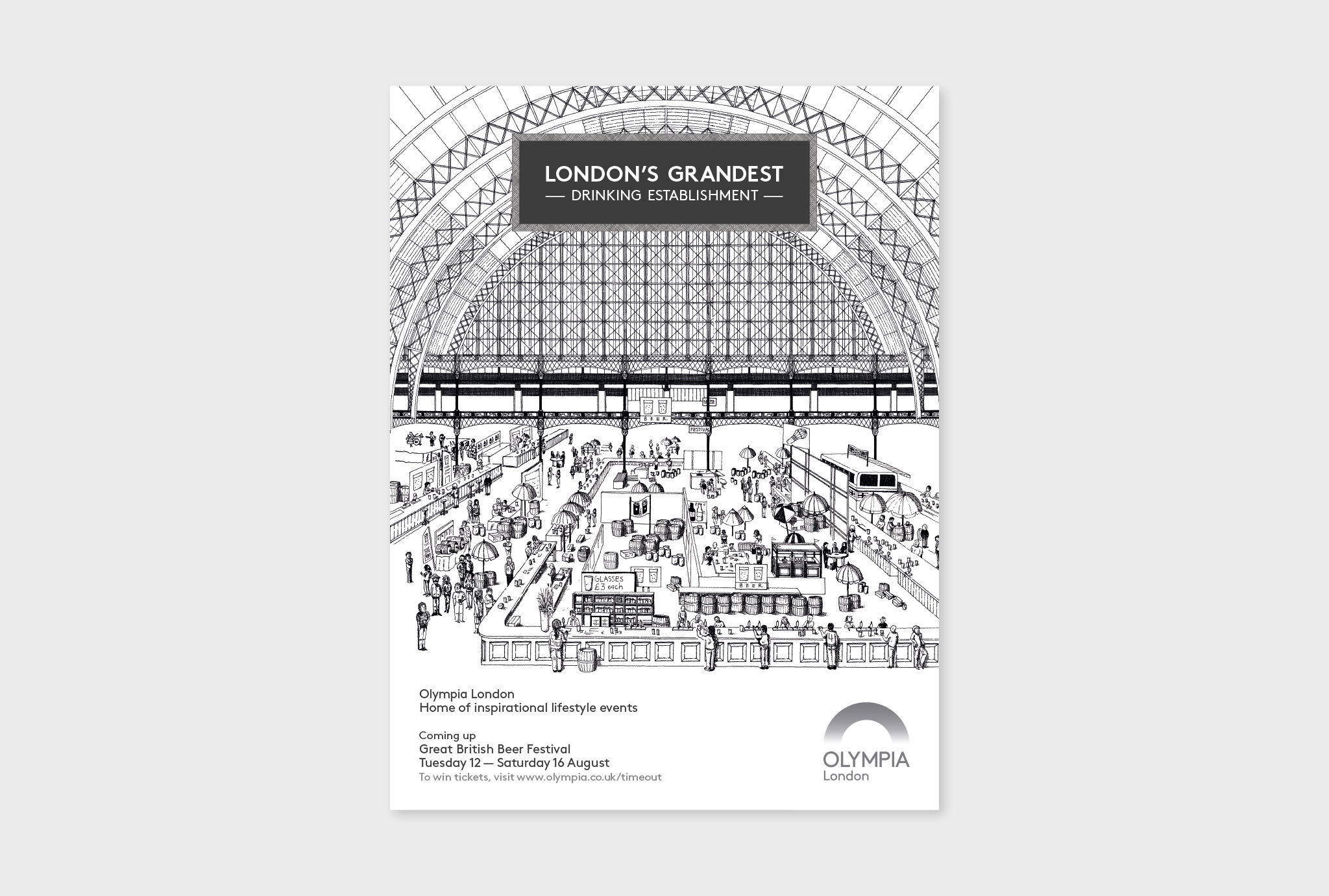 black and white, hand drawn design for London's Grandest DRINKING ESTABLISHMENT