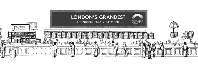 wide beer bar with 'LONDON'S GRANDEST DRINKING ESTABLISHMENT' written on top