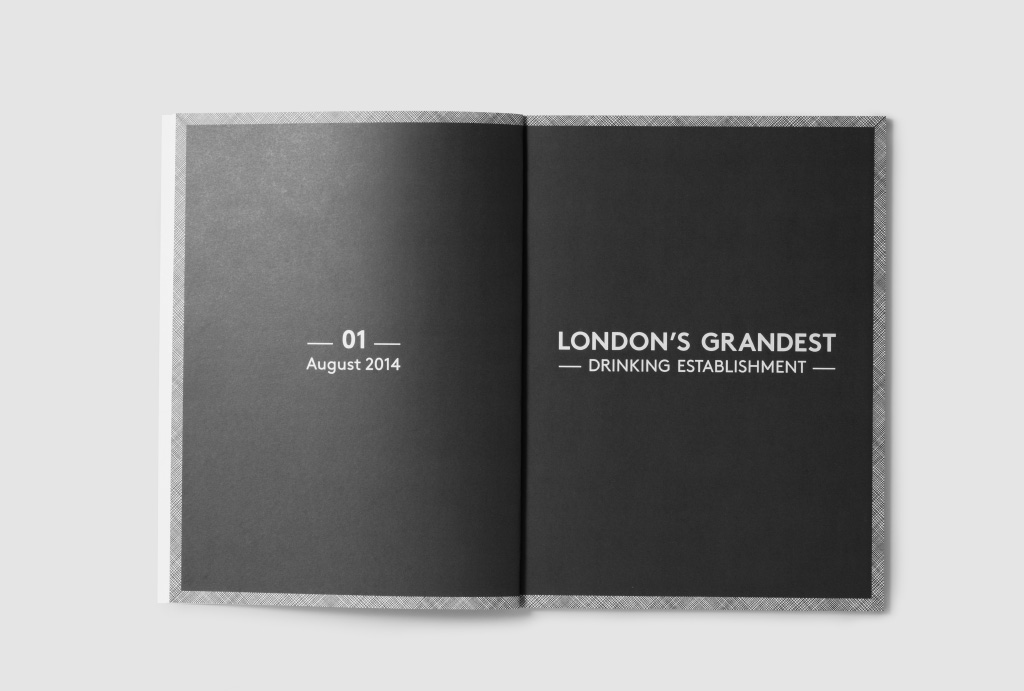 opened catalogue with black pages and '01 August 2014' written on one page and on the other 'London's Grandest Drinking Establishment' in white