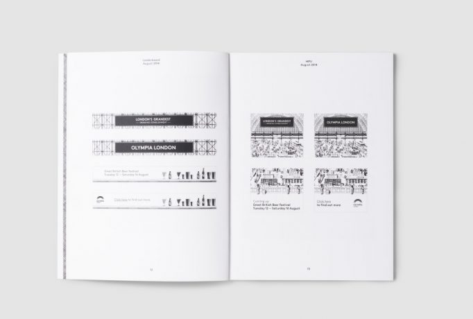 catalogue pages with hand drawn black and white illustrations