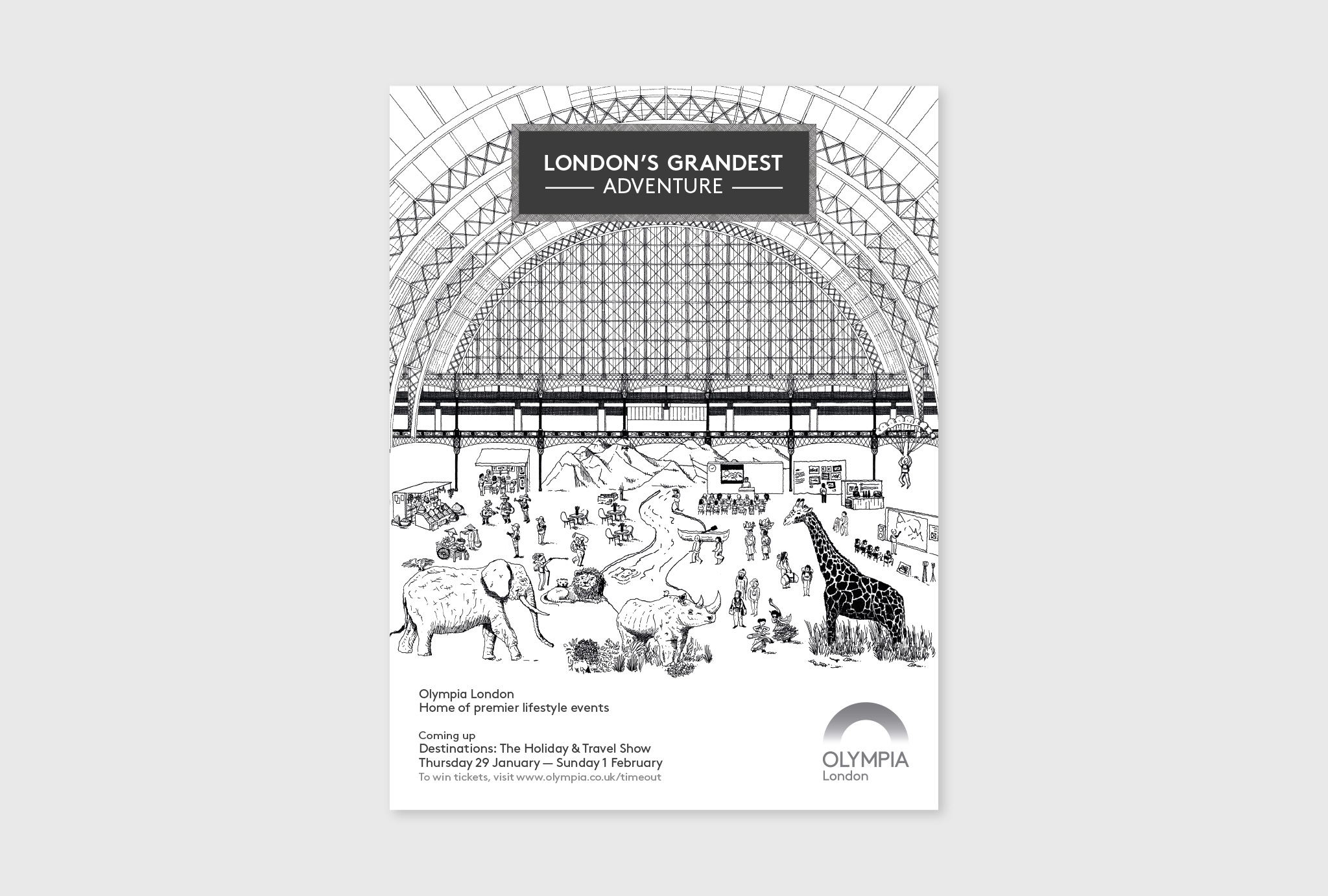 black and white, hand drawn design for London's Grandest ADVENTURE