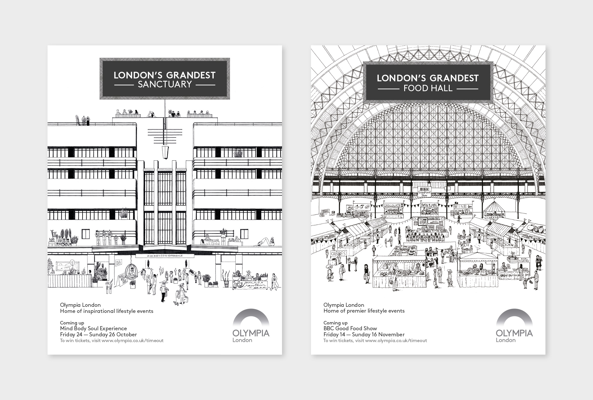 black and white, hand drawn design for London's Grandest SANCTUARY and FOOD HALL