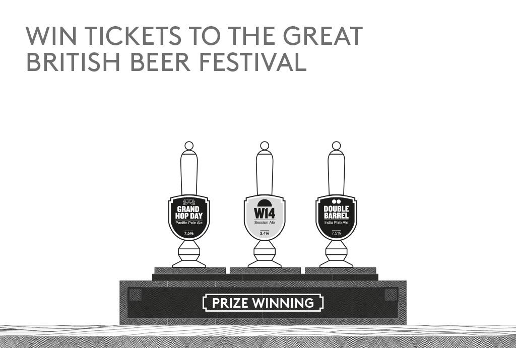 'WIN TICKETS TO THE GREAT BRITISH BEER FESTIVAL' written and three beer taps in black and white