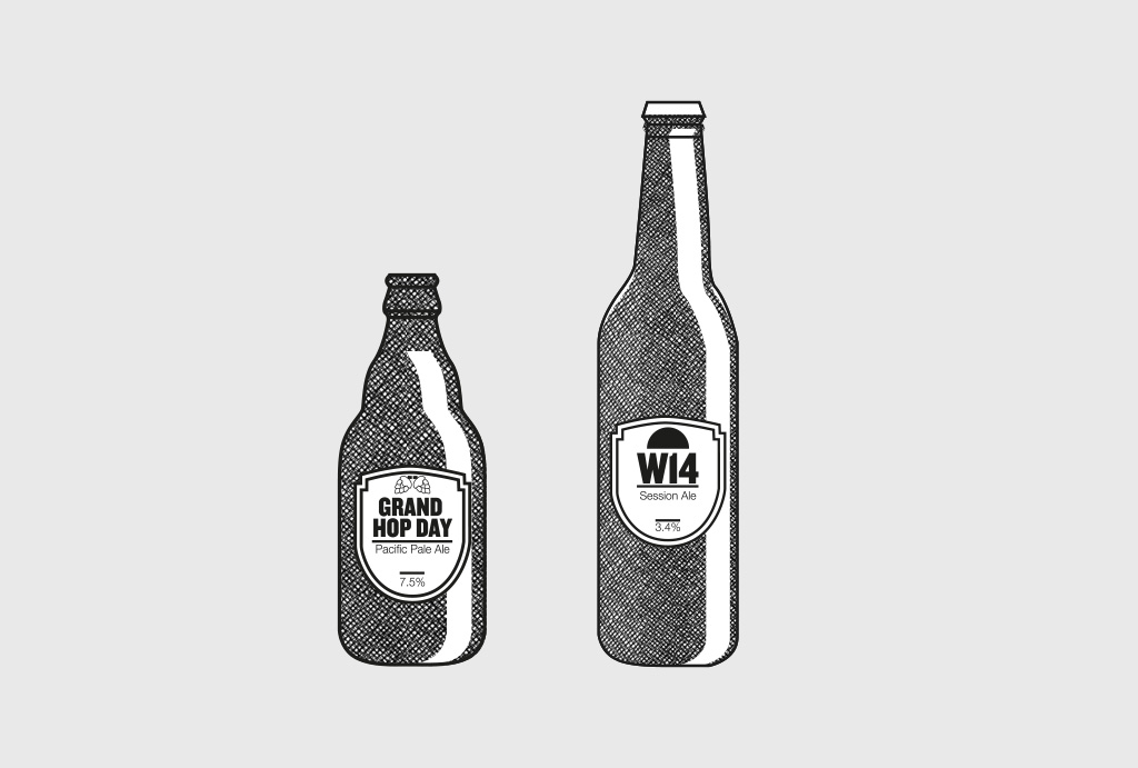 two different shaped beer bottles as hand drawn illustration