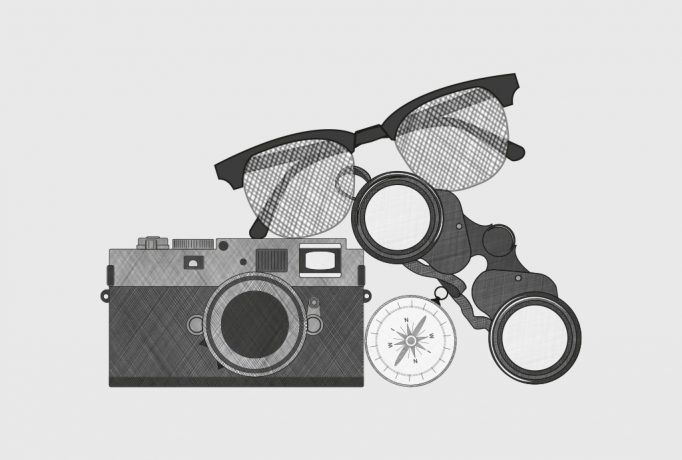camera, glasses, compass and field glasses drawn in black and white