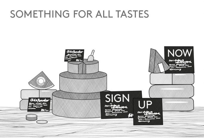 'SOMETHING FOR ALL TASTES' written and piles of different chees as a black and white illustration